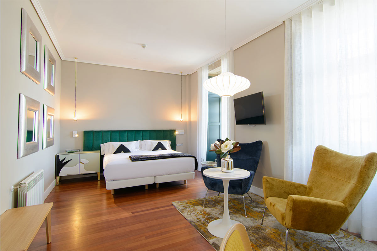 Interior habitación hotel baiona Pazo Mendoza