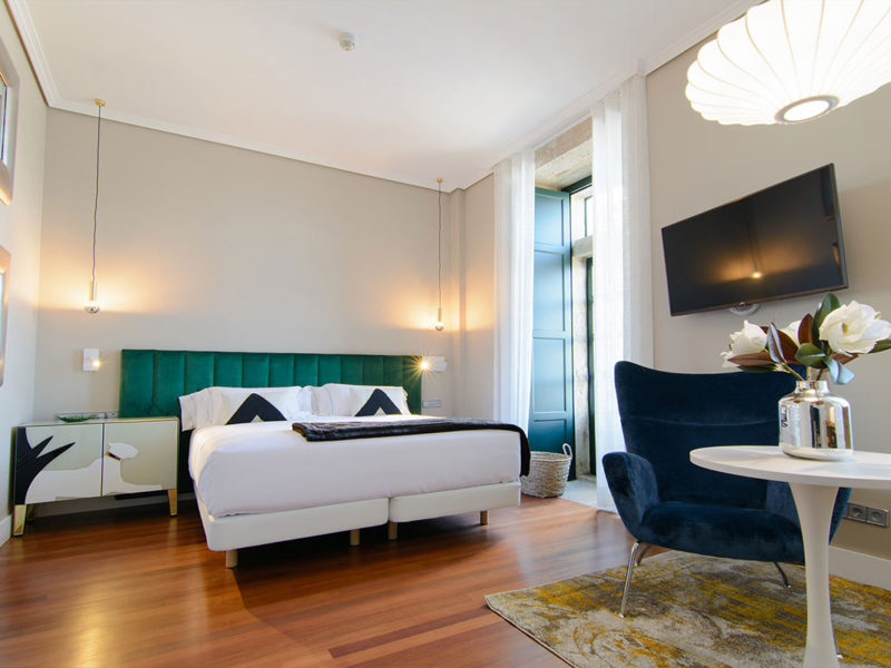 Interior habitación hotel baiona Pazo Mendoza 2
